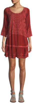 Johnny Was Dotted Geo Tunic Dress with Slip, Plus Size