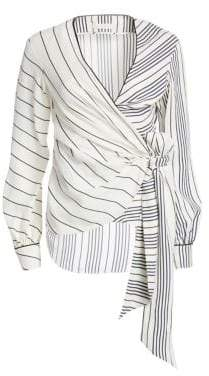 Jonathan Simkhai Multi-Stripe Wrap Top