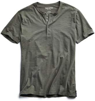 Todd Snyder Made in L.A. Slub Jersey Short Sleeve Henley in Olive
