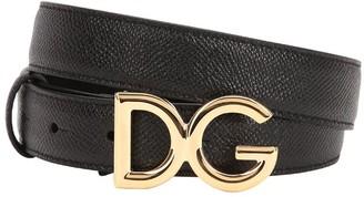 Dolce & Gabbana 25mm Logo Grained Leather Belt