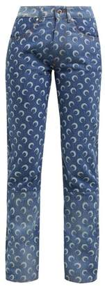 Marine Serre Crescent Moon Patterned Jeans - Womens - Denim