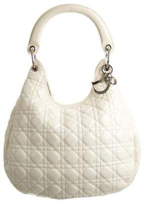 Christian Dior Cannage Patent Leather Hobo Bag White Cannage Patent Leather Hobo Bag