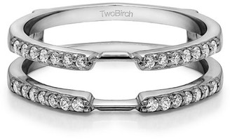 TwoBirch Brilliant Moissanite Mounted in Sterling Silver Delicate Traditional Style Ring Enhancer (0.22ctw)