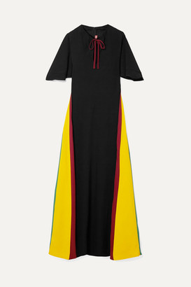 STAUD Color-block Crepe Maxi Dress - Black