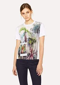 Paul Smith Women's White 'Tropical Tree' Print T-Shirt