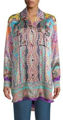 Etro Printed Silk Tunic Top
