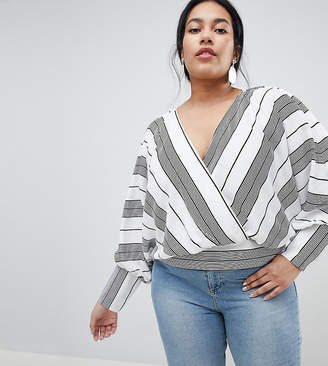 Asos DESIGN CURVE Batwing Plunge Top in Casual Stripe