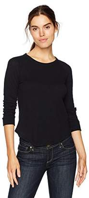 Enza Costa Women's Cashmere Bracelet Sleeve Baseball Top