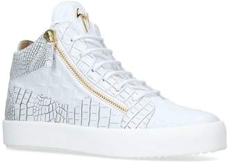 Giuseppe Zanotti Crocodile Effect Mid-Top Sneakers