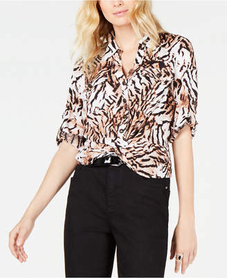 INC International Concepts Inc Safari-Print Twist-Hem Top
