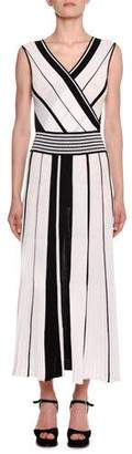 Missoni Crossover V-Neck Sleeveless Striped A-Line Dress