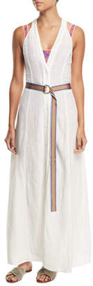 Diane von Furstenberg Sleeveless Button-Front Swim Coverup Dress
