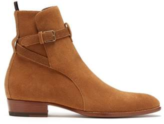 Saint Laurent Wyatt Suede Jodphur Boots - Mens - Brown