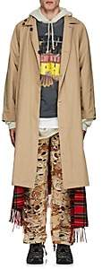 Vetements Men's Reversible Twill & Flannel Trench Coat - Beige, Tan