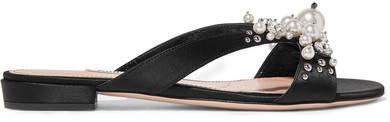 Miu Miu - Embellished Satin Slides - Black