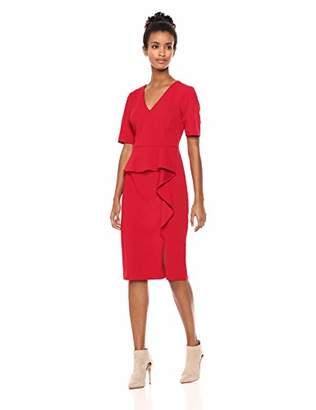 Adrianna Papell Women's Short Sleeves Knit Crepe Sheath Dress with Front Slit