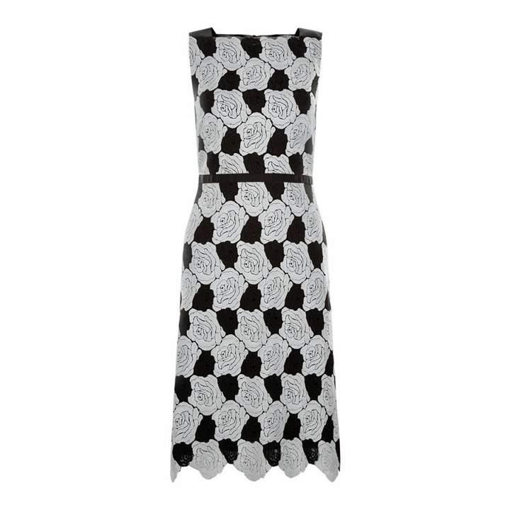 Ivory/Black Rose Mono Lace Dress