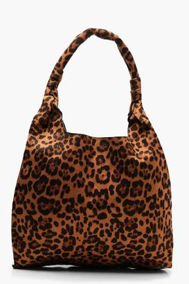 boohoo All Over Leopard Slouch Hobo Bag
