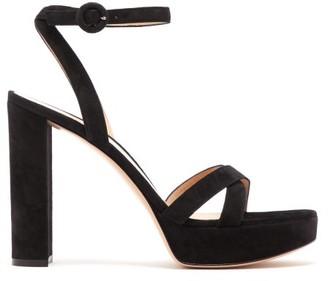 Gianvito Rossi Poppy 85 Suede Platform Sandals - Womens - Black