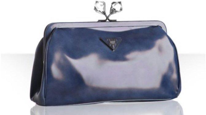 Prada blue faded leather crystal kisslock clutch