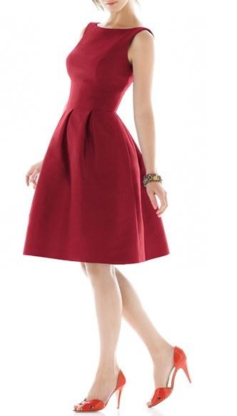 Alfred Sung Dupioni Fit & Flare Dress