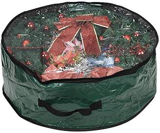 "clear ProPik Wreath Storage Bag Polyester Tear Resistant Fabric for Holiday Easy Storage with Window Featuring Heavy Handel's and Transparent Card Slot 30"" X 30"" X 8"" (Green)"