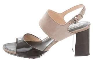 Tod's Suede Mid-Heel Sandals