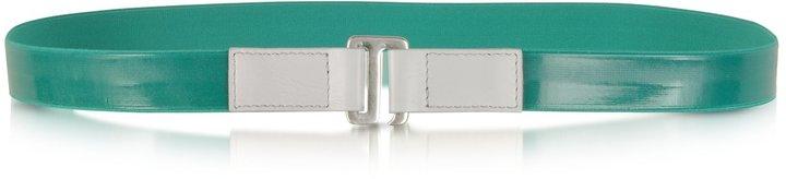 MM6 Maison Martin Margiela Green Fabric and Leather Belt