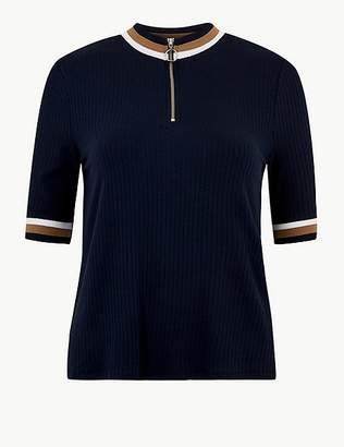 Marks and Spencer Ribbed High Neck Short Sleeve T-Shirt