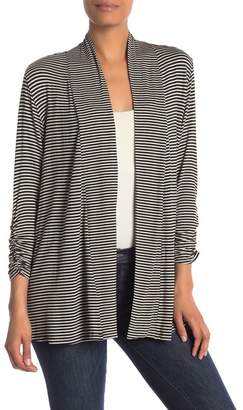Bobeau Striped Open 3\u002F4 Length Sleeve Cardigan