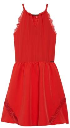 Marciano Lace Trimmed Halter Dress