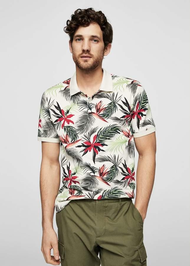 Poloshirt mit Tropen-Print