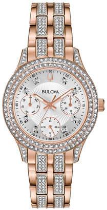 Bulova 33mm Crystal Chronograph Watch w/ Bracelet Strap, Rose Gold