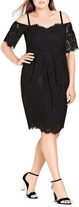 City Chic Amour Off-the-Shoulder Lace Dress