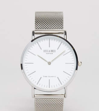 Reclaimed Vintage Inspired classic mesh strap watch in silver exclusive to ASOS