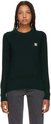 MAISON KITSUNÉ Green Merino Round Neck Sweater