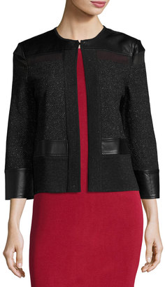 Ming Wang Tweed Jacket with Faux-Leather Trim, Black $199 thestylecure.com