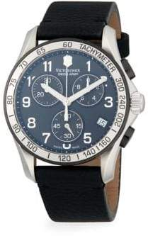 Victorinox Chrono Classic Stainless Steel & Leather-Strap Chronograph Watch