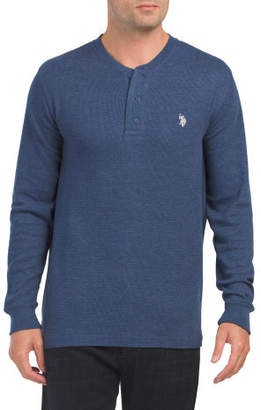 Long Sleeve Heather Thermal Henley Top