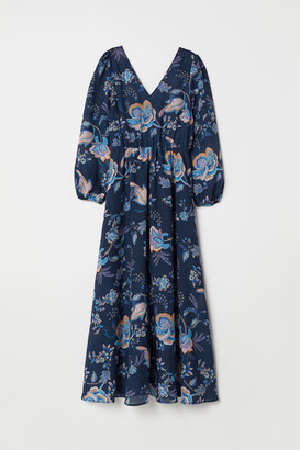 H&M V-neck Maxi Dress - Blue