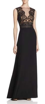 Tadashi Shoji Illusion Lace-Bodice Gown