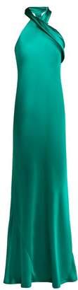 Pandora Galvan Silk Satin Halterneck Gown - Womens - Green