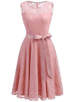 Dressystar Women's Floral Lace Dress Short Bridesmaid Dresses with Sheer Neckline XXXL