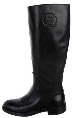 Louis Vuitton Leather Knee-High Boots Black Leather Knee-High Boots