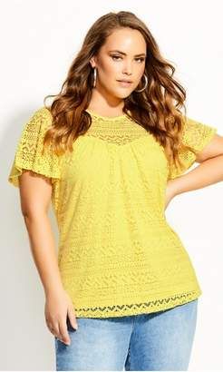 City Chic Citychic Serenity Sleeved Top - buttercup