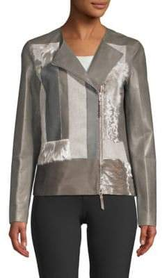 Lafayette 148 New York Toluca Calf and Lamb Hair-Trim Patchwork Leather Jacket