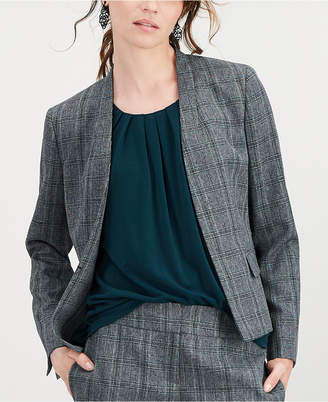 Kasper Stand-Collar Flyaway Plaid Jacket