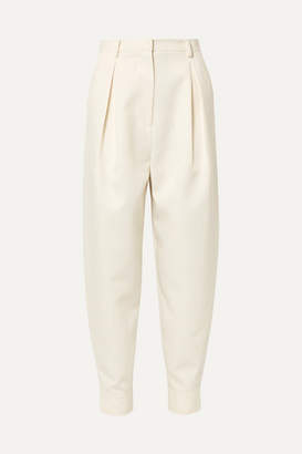 Tibi Pleated Twill Tapered Pants - Ivory