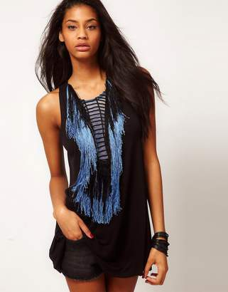 Asos Design Tunic With Embroidery And Fringe Panel