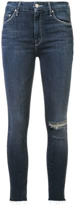 Mother distressed detail slim-fit jeans